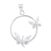 Sterling Silver Cubic Zirconia Butterflies on circle pendant